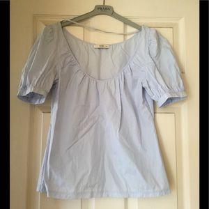 PRADA cotton blue puffed sleeve top